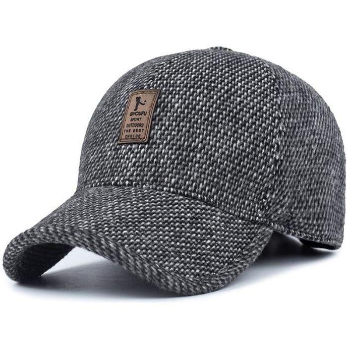 Casquette Homme Réglable en Coton Chapeau de Soleil Randonnée Automne et Hiver Gris