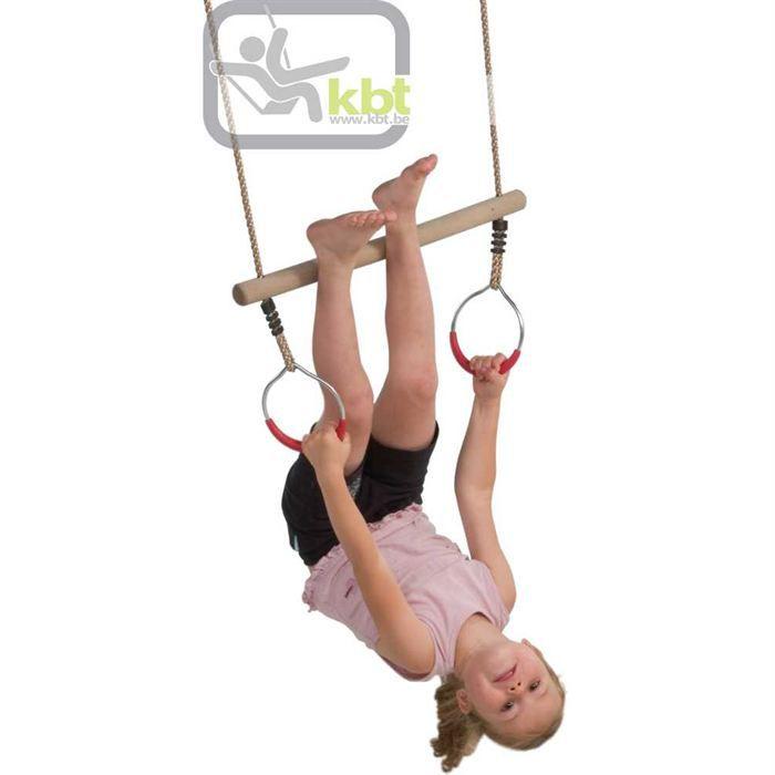 Trapeze bois avec anneaux de gymnastique