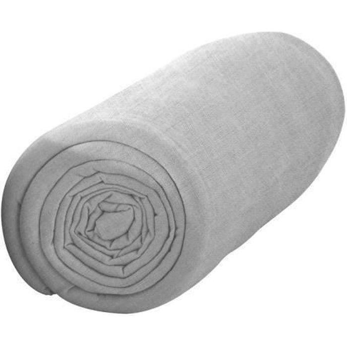 TODAY Drap housse 100% coton - 140 x 190 cm - Zinc TODAY