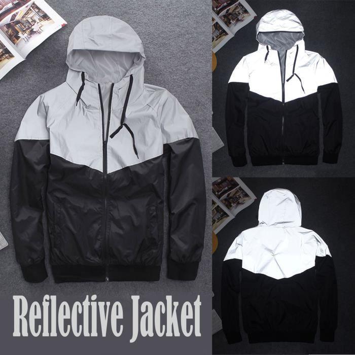 Femmes Et Hommes Mode Zipper Épissage Manteau Réfléchissant Vestes Trench Décontractées