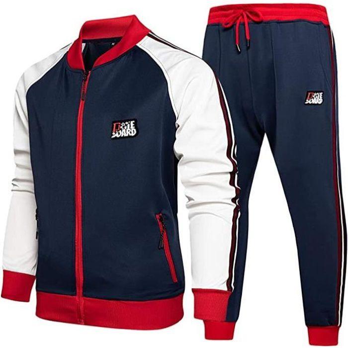 Ensemble Survêtement Homme Casual Sport Sweater à Zippé et Pantalon Jogging Suit à Manches Longues à Carreaux avec Poches Bleu