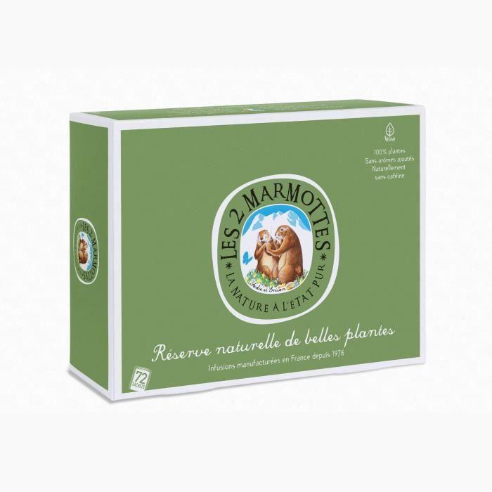 Les 2 Marmottes - Coffret -Réserve de Belles Plantes- - dégustation Infusions 72 Sachets - Made In France - Sans arômes ajoutés