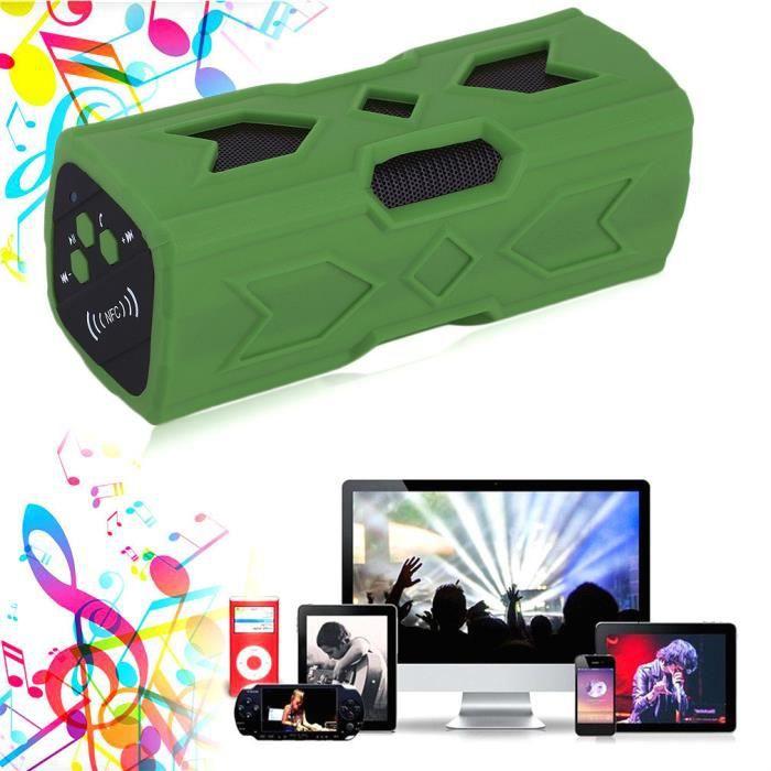 Haut-Parleur Stéréo Bluetooth Portable NFC Enceinte Lecteur MP3 - Couleur Vert