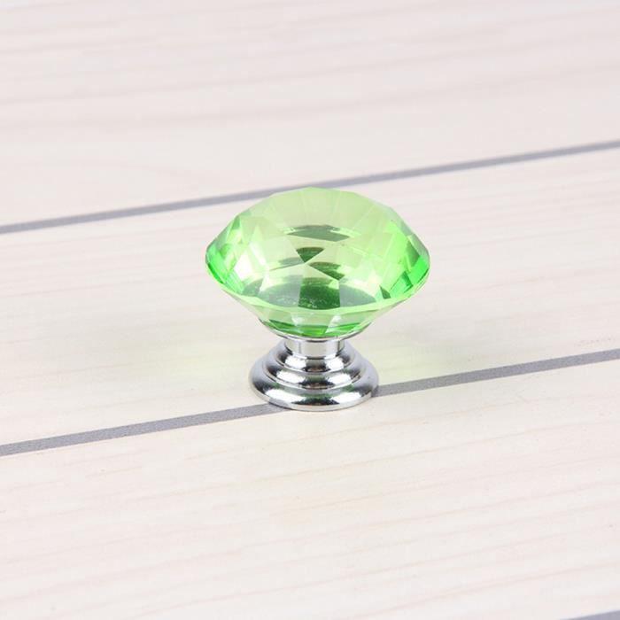 10 PCS Poignée Porte Boutons Cristal Vert s Armoires Tiroir Diamant Porte Meuble 30mm Knob