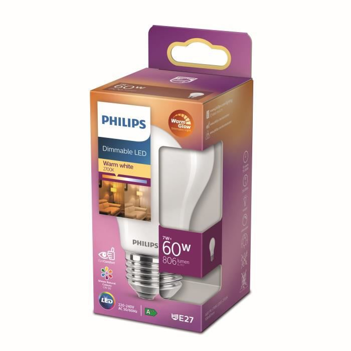 Philips ampoule LED Equivalent 60W E27, Blanc chaud, Dimmable, verre