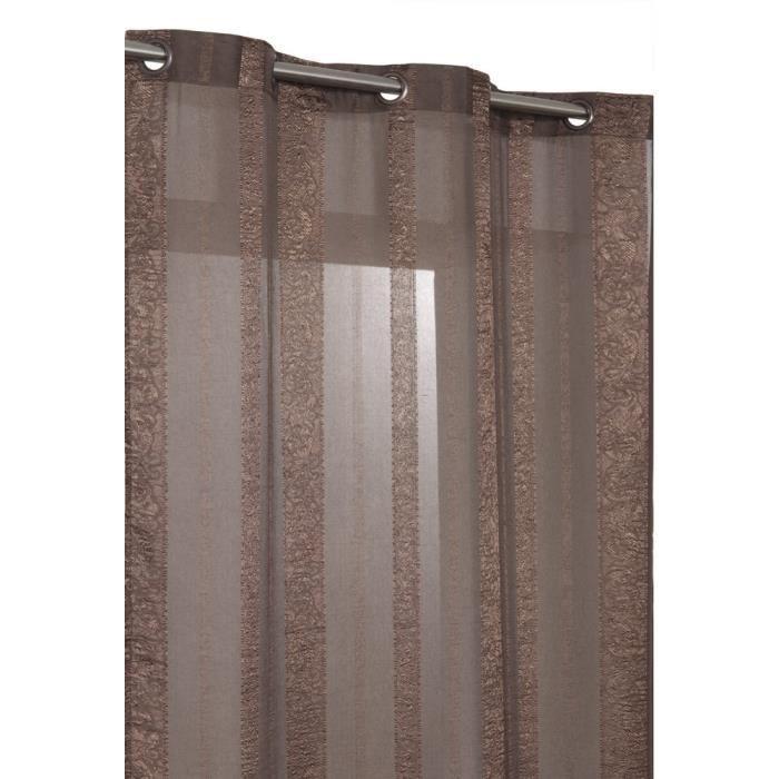 Rideau Voilage Style Oriental 140 x 240 cm à Rayures Chocolat