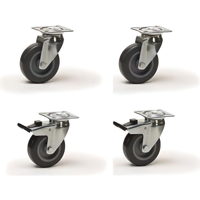 Lot roulettes pivotantes et pivotantes à frein caoutchouc gris 50 mm - 120 Kg