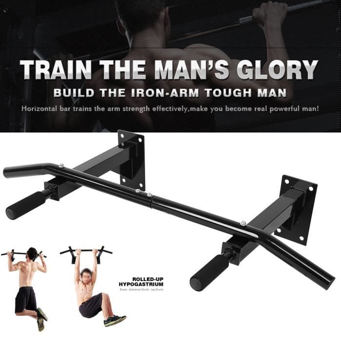 VGEBY® Barre de traction noire Montage mural Fitness musculations exercices bicipitales tractions -YES
