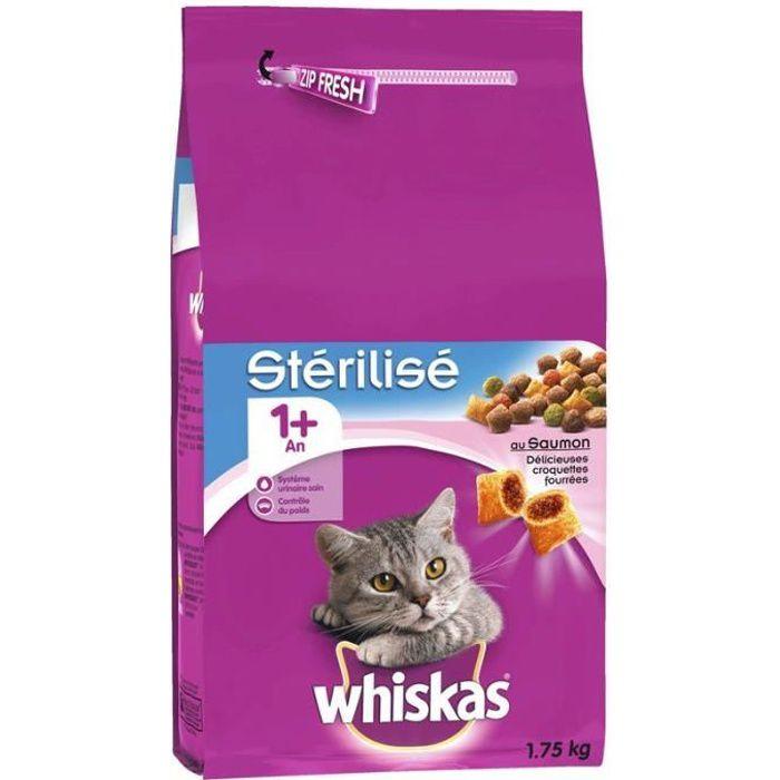 Whiskas Stérilisé Croquettes fourrées pour chat Saveur Saumon Dès 1 an 1,75kg