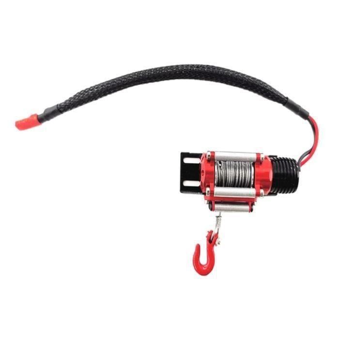 HK19831-Mini Treuil Électrique en Métal Rouge pour Voitures Escalade sur Chenilles Rc 1:10