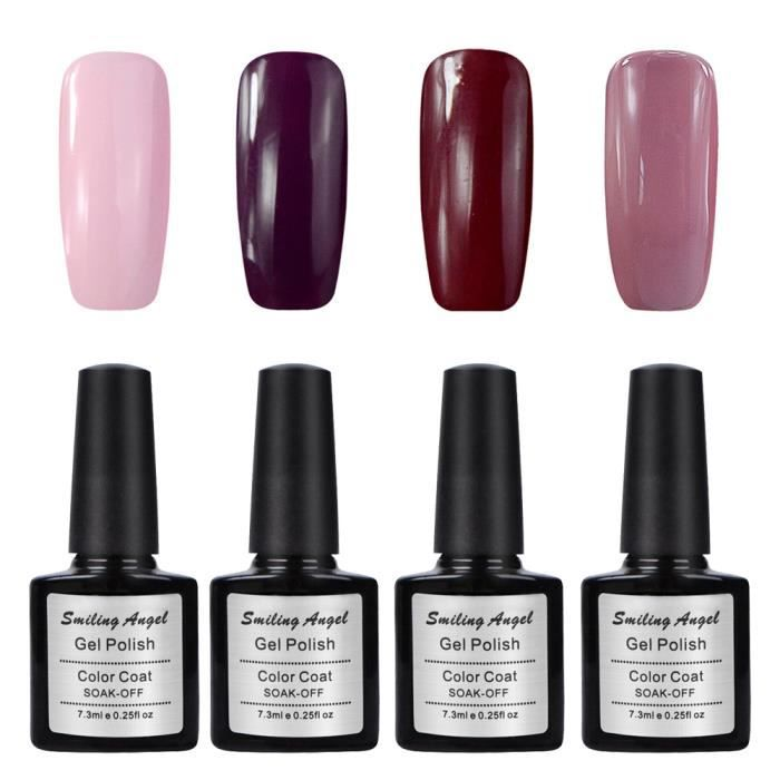 lot 4 vernis semi permanent gel polish uv soak off base top coat manucure achat vente. Black Bedroom Furniture Sets. Home Design Ideas