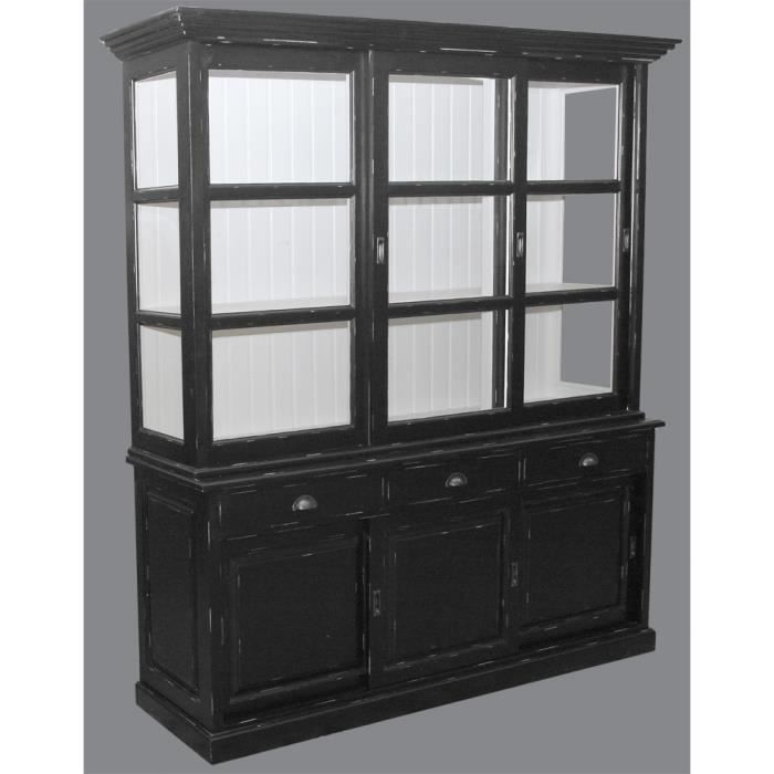 Bibliotheque 3 portes coulissantes pin massif achat - Armoire pin massif porte coulissante ...
