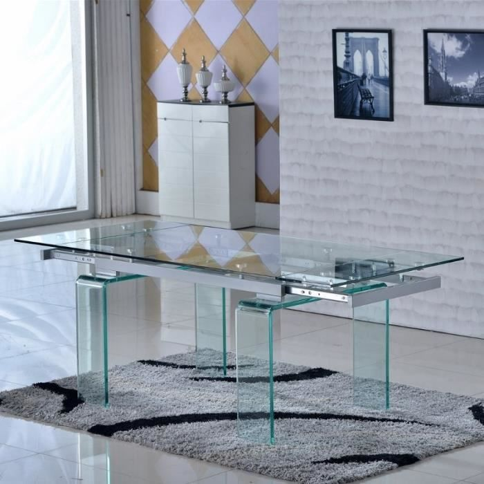 Table en verre rallonges corte achat vente table for Table a manger en verre