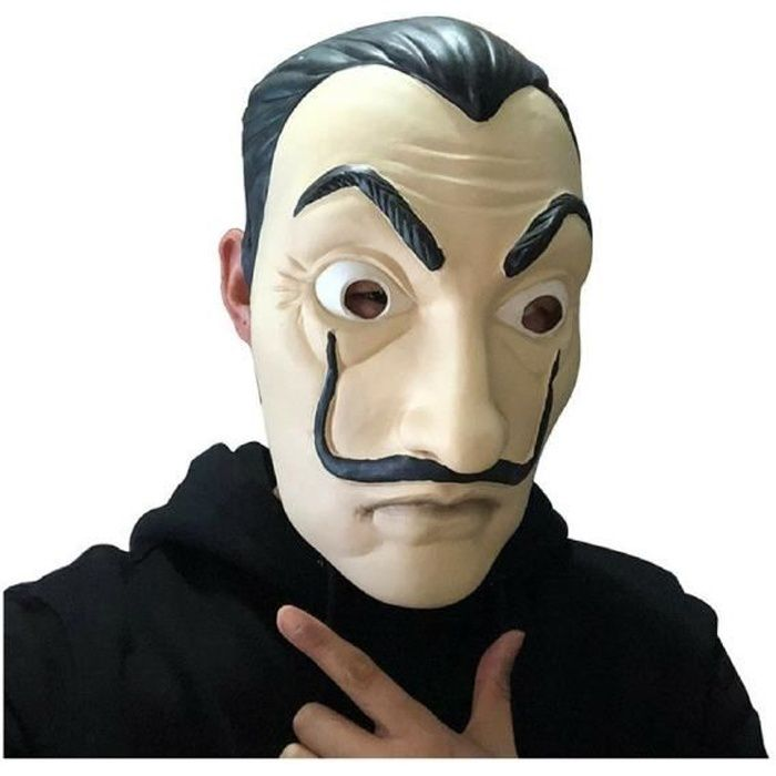 La Casa de Papel Masque Salvador Dali Visage Mascara Argent Heist le Braquage