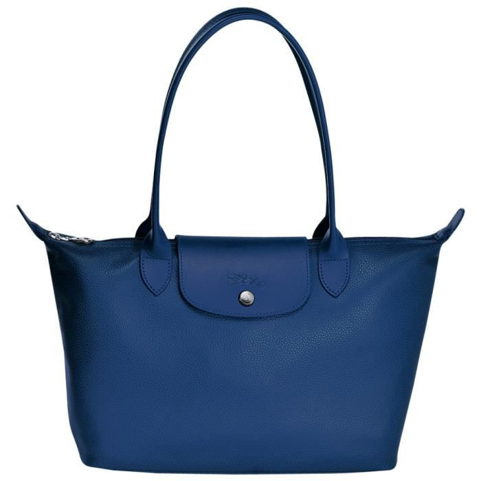 longchamp sac main femme en cuir port paule couleur bleu achat vente longchamp sac. Black Bedroom Furniture Sets. Home Design Ideas