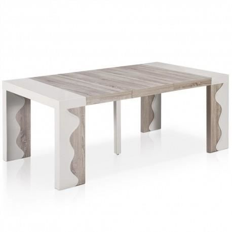 Table console extensible olga ivoire achat vente table for Table 2 personnes extensible