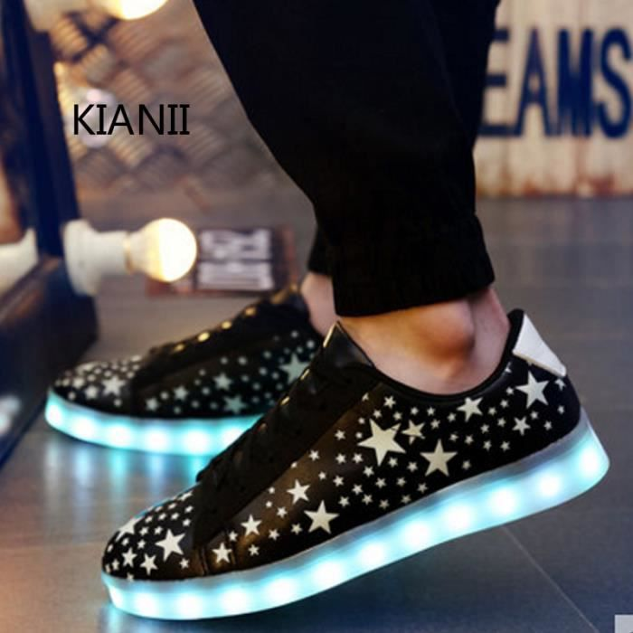 Kianii-Chaussure Led Noir USB Charge chaussures lumineuses LED Homme Multicolore LED Lumière Lumineux Clignotants Baskets