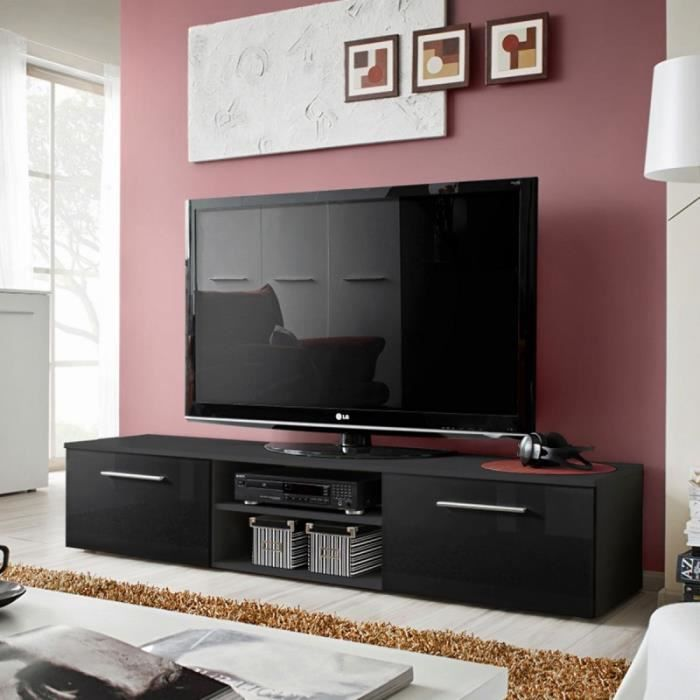 paris prix meuble tv design bono ii 180cm noir achat. Black Bedroom Furniture Sets. Home Design Ideas