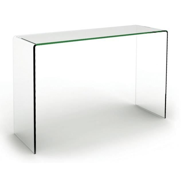 console bridge transparente 110 cm achat vente console console bridge transparente verre. Black Bedroom Furniture Sets. Home Design Ideas