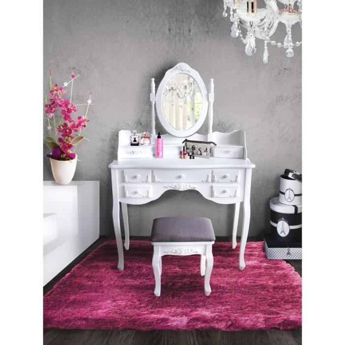 tifany coiffeuse 7 tiroirs pouf 97cm blanc achat vente coiffeuse tifany coiffeuse 7. Black Bedroom Furniture Sets. Home Design Ideas