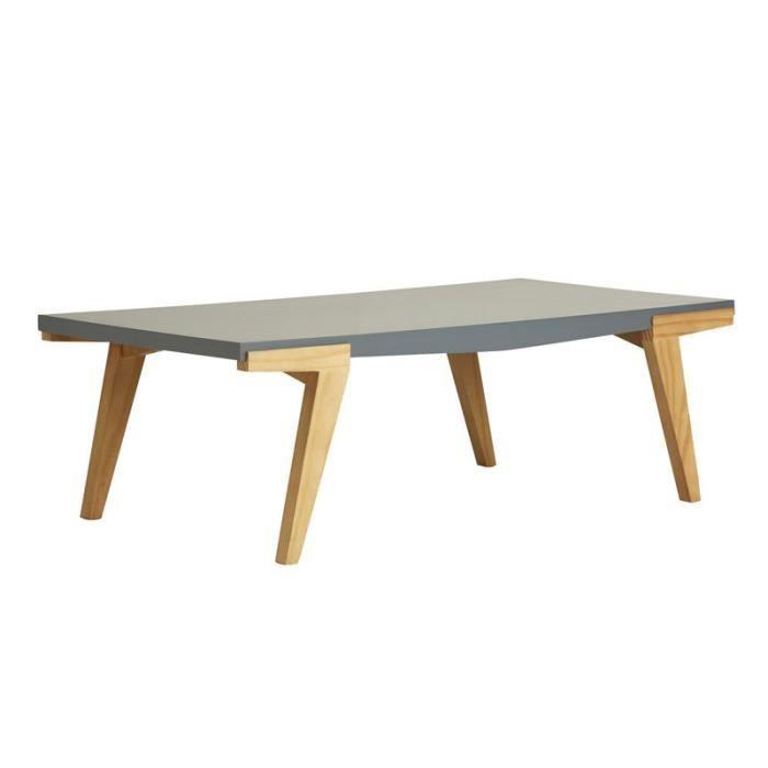 TABLE BASSE Table basse rectangulaire Bois/Gris - MIGUEL - L 1