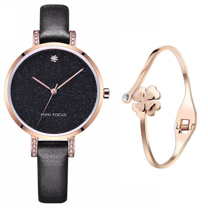 montre bracelet cuir noir femme