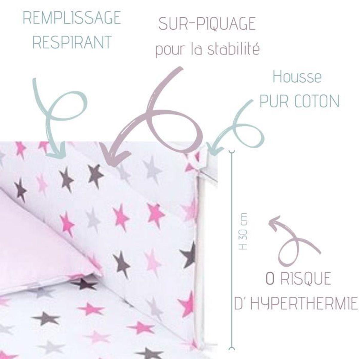 210 cm lit b/éb/é /évolutif 100/% coton Rose Gris Pois Callyna/® Tour de lit r/éversible 100/% Union Europ/éenne