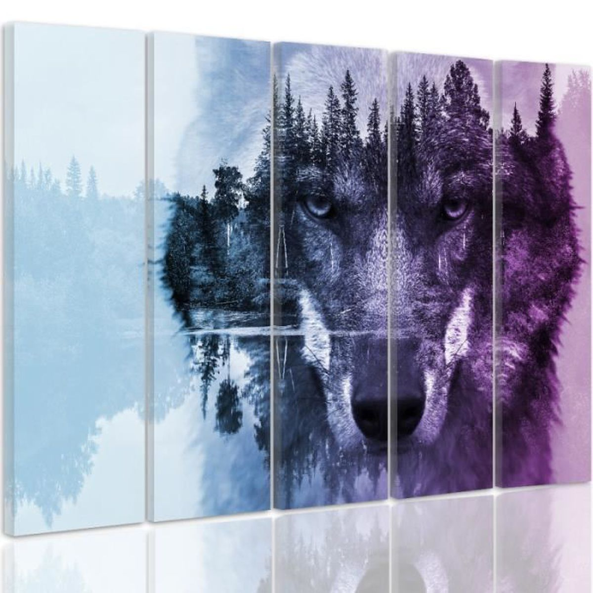 150 x 100 cm tableau d co loup et for t multicolor for Decoration murale loup