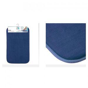 Tapis de bain microfibre à mémoire de forme 80x50 cm Bleu