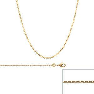 CHAINE DE COU SEULE Chaine Plaqué Or maille Forcat largeur 1,3mm (60 c