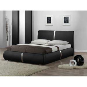 STRUCTURE DE LIT Lit double noir 160 x 200 tête de lit, pieds, somm