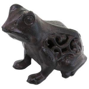 Fonte assis pig deco de jardin statue butoir pour portes rustique marron métal