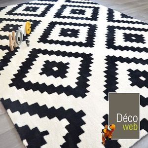 tapis de salon noir et blanc achat vente tapis de salon noir et blanc pas cher cdiscount. Black Bedroom Furniture Sets. Home Design Ideas
