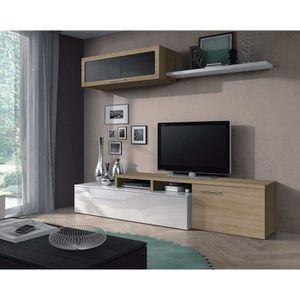 MEUBLE TV Séjour TV en panneaux de particules blanc brillant