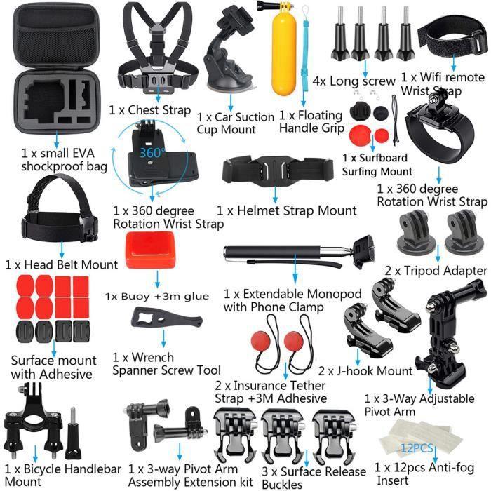 Pour GoPro Accessoires Hero7 - 6-5-4-3 Bundle caméra extérieure Ensemble Sport Kit 58-in-1 @Yun1234