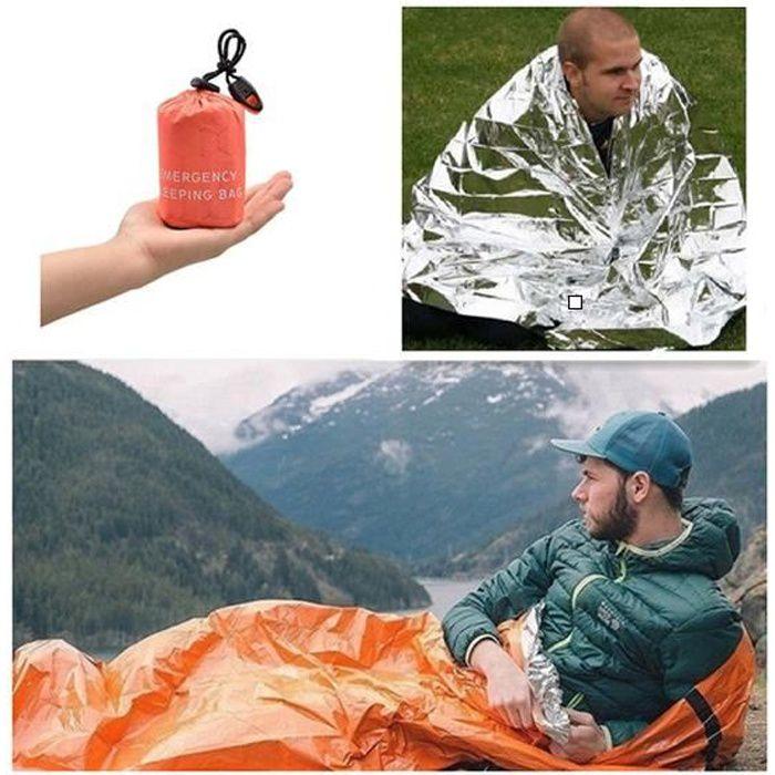 Sac de couchage d'urgence + Couverture de survie en film d'aluminium PE - Fournitures essentielles pour le camping en plein air