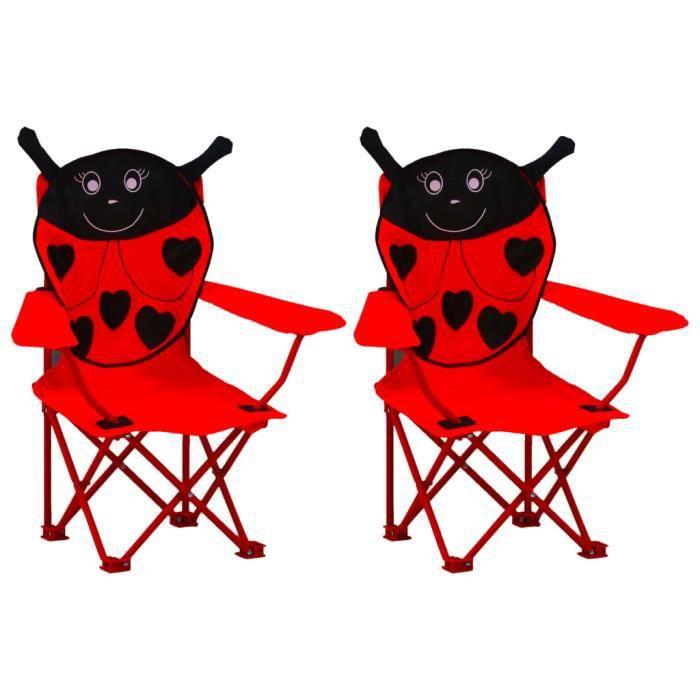 HAO Chaises de jardin pour enfants 2 pcs Rouge Tissu #2