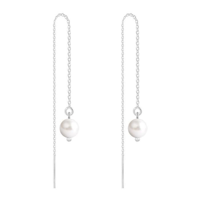 Boucles d'Oreilles Chaîne Argent 925 Perles 6mm Swarovski Element - White Pearl