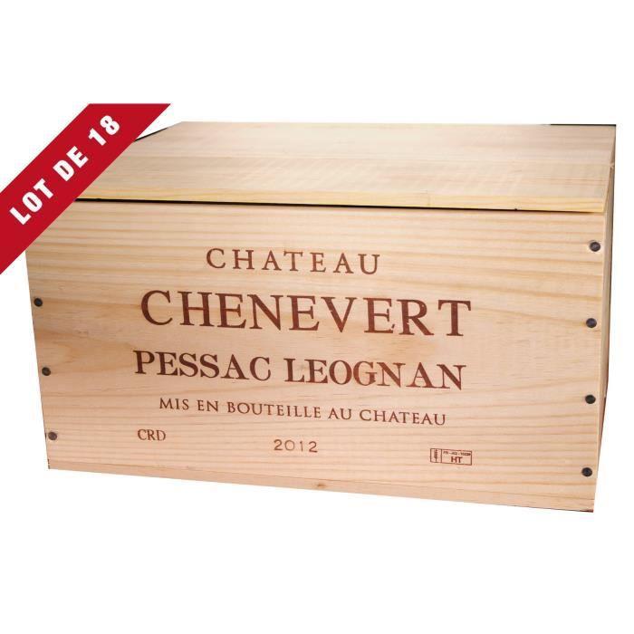 18X La Caisse Bois 6x75cl estampillé Château Chênevert - coffret