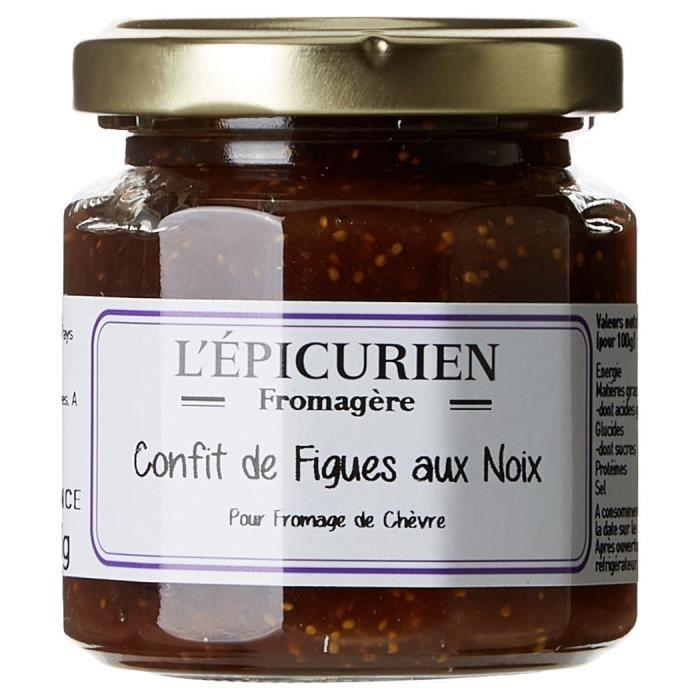 L'Epicurien Confit de Figues aux Noix Confiture 125 g - Pack de 3