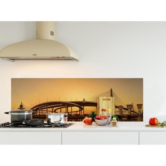 Crédence de cuisine adhésive en Panneau composite aluminium -Pont de Bhumibol au coucher du soleil, Thaïlande- L. 150 x H. 50 cm