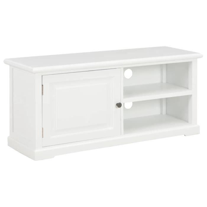 Moderne⭐- Meuble TV Bas Armoire Tele Banc TV Table pour Salon-Séjour Blanc 90 x 30 x 40 cm Bois⭐8875