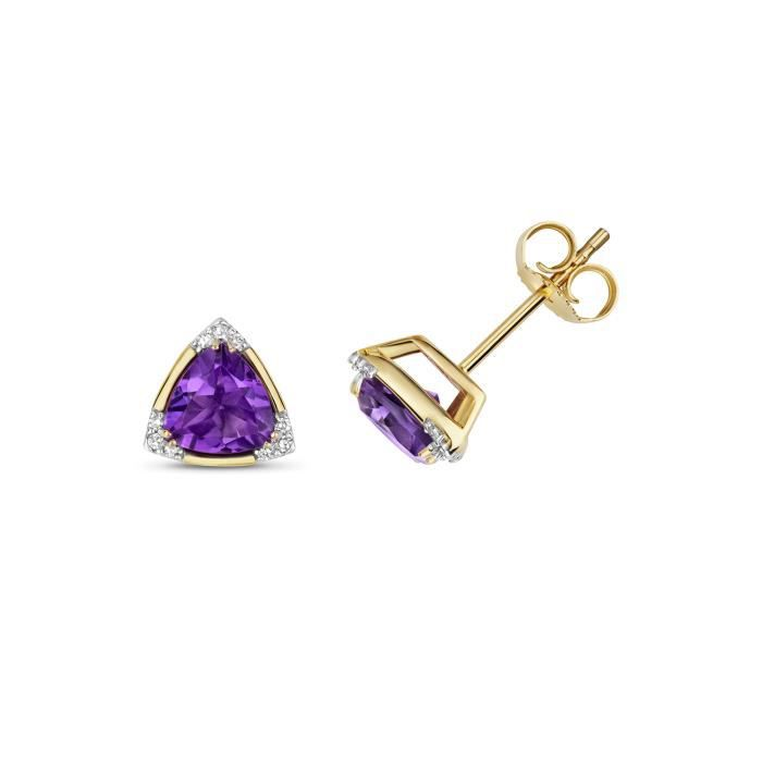 Boucles d'Oreilles Femme Or 375-1000 et Diamant Brillant 0.05 Carat HI - I1 avec Améthyste 45489