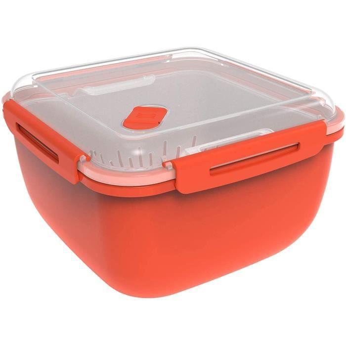 Rotho Memory Microwave Cuiseur à Vapeur 2,5L avec Tamis pour Micro-ondes et Cuiseur à Vapeur, Plastique (PP) sans BPA, Rouge/Transpa