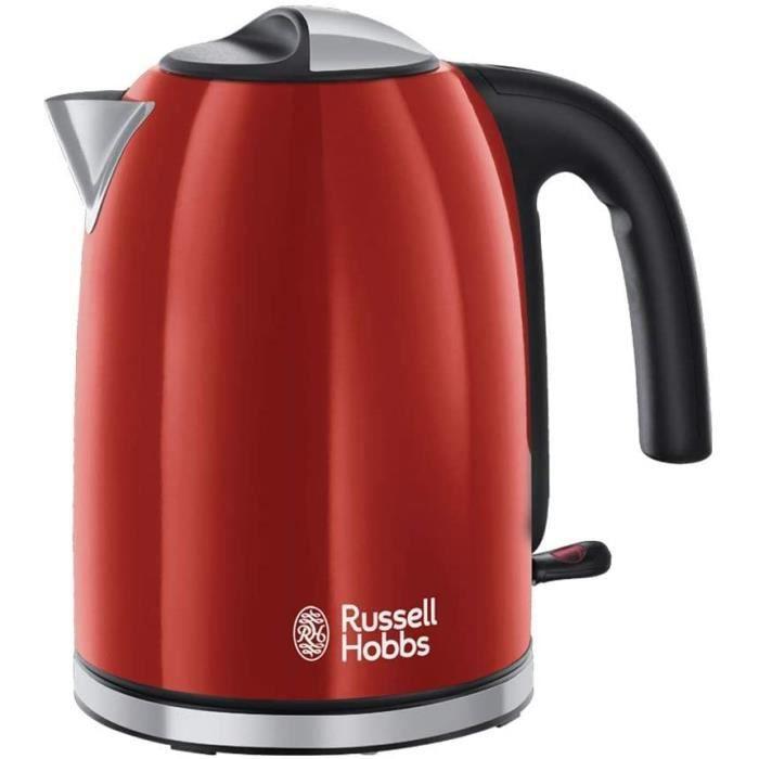 Russell Hobbs 20412-70 Bouilloire Familiale 1,7L Colours Plus, Ebullition Rapide, Filtre Anti-Calcaire Amovible Lavable - Rouge
