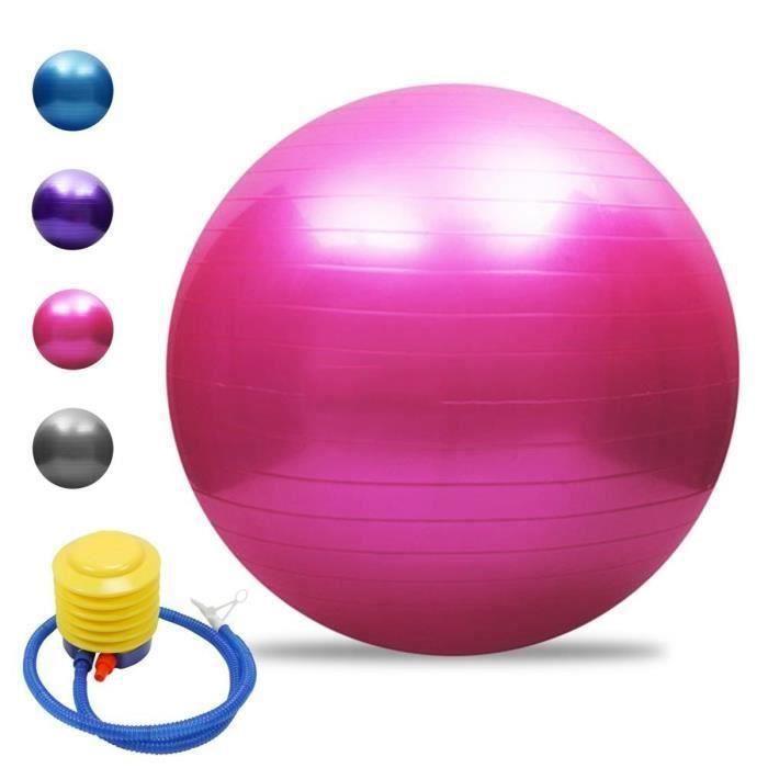 AA Ballon de Gymnastique Avec Pompe Anti-éclatement épaissie PVC Fitness Balance Ball Rose 65cm