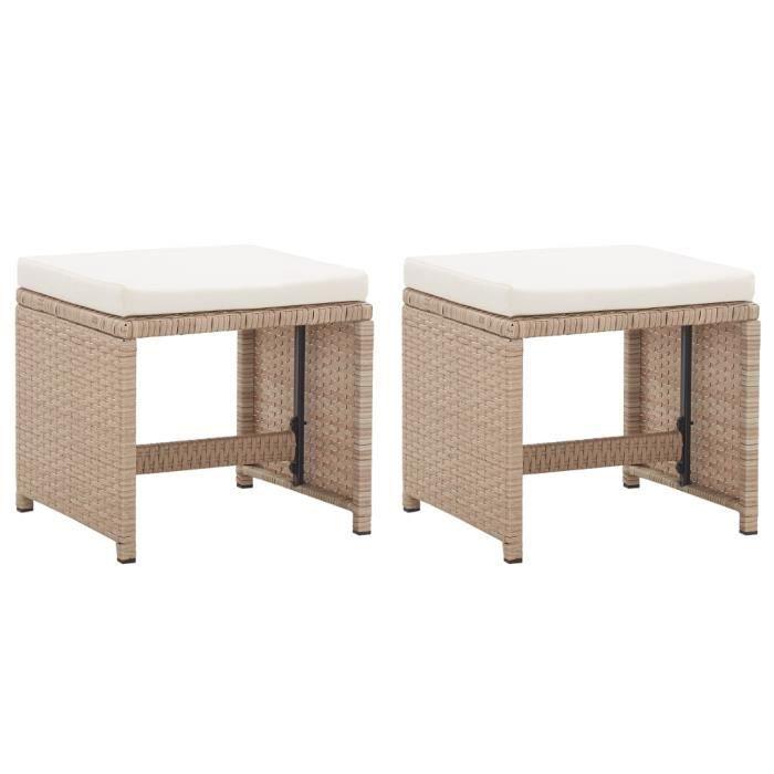 SOLDES-7109Lot de 2 Chaise d'extérieur Fauteuil de jardin de Haute qualité Chaises de Balcon avec coussins Résine tressée Beige