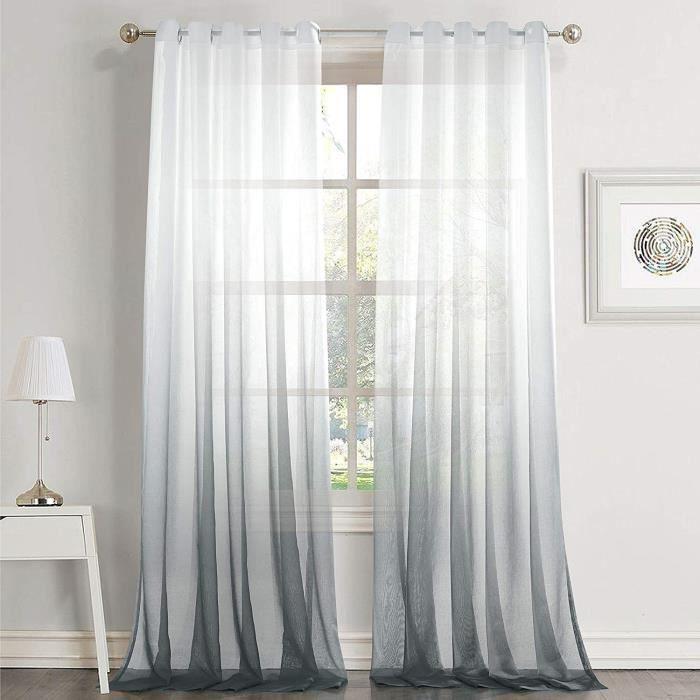 Dreaming Casa Rideaux Voilage Blanc Gris Voilage Ombre Dégradé à Oeillet Transparent Voilage Elégant Décor de Fenêtre Voile Salon
