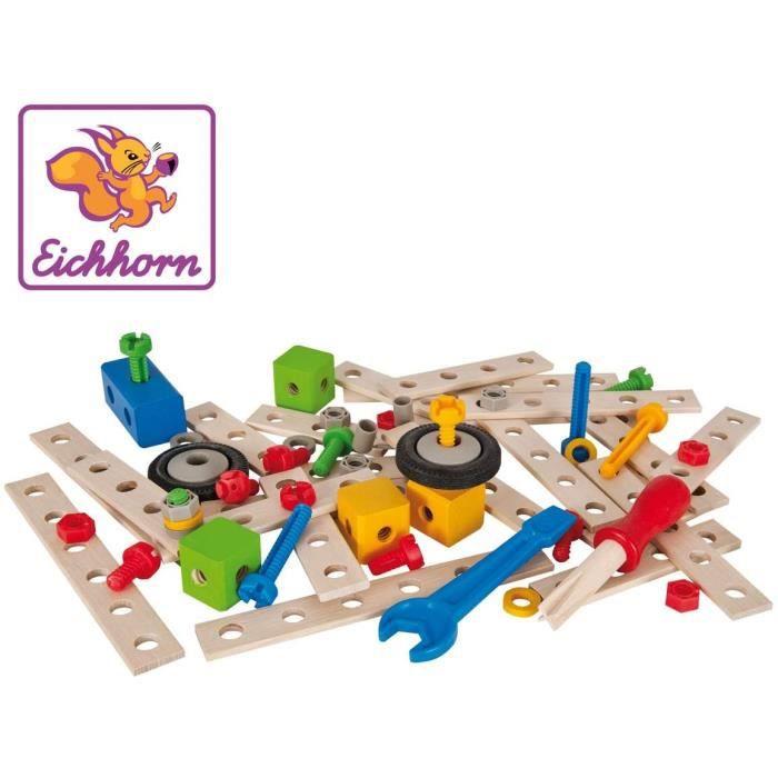 Jeux de construction Eichhorn - 100039024 - Jeu de Construction Bois - Set de Construction - 75 Pièces Bois 52117