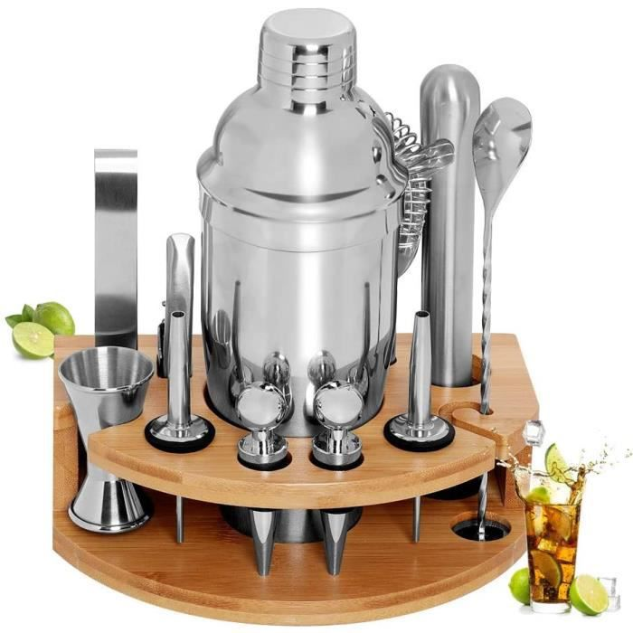 SET COCKTAIL GARDOM Shaker à Cocktail 12 Pi&egraveces,Shaker Cocktail Professionnel 750ml,Kit Mojito avec Jigger,Pinces 83